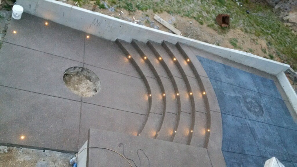 Curved exposed patio, stairs, with stamp