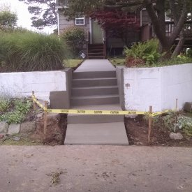 broomed stairs and sidewalk
