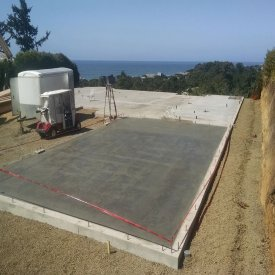 concrete slab and garage