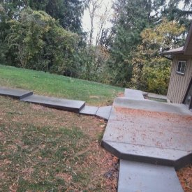 Broomed concrete pathways